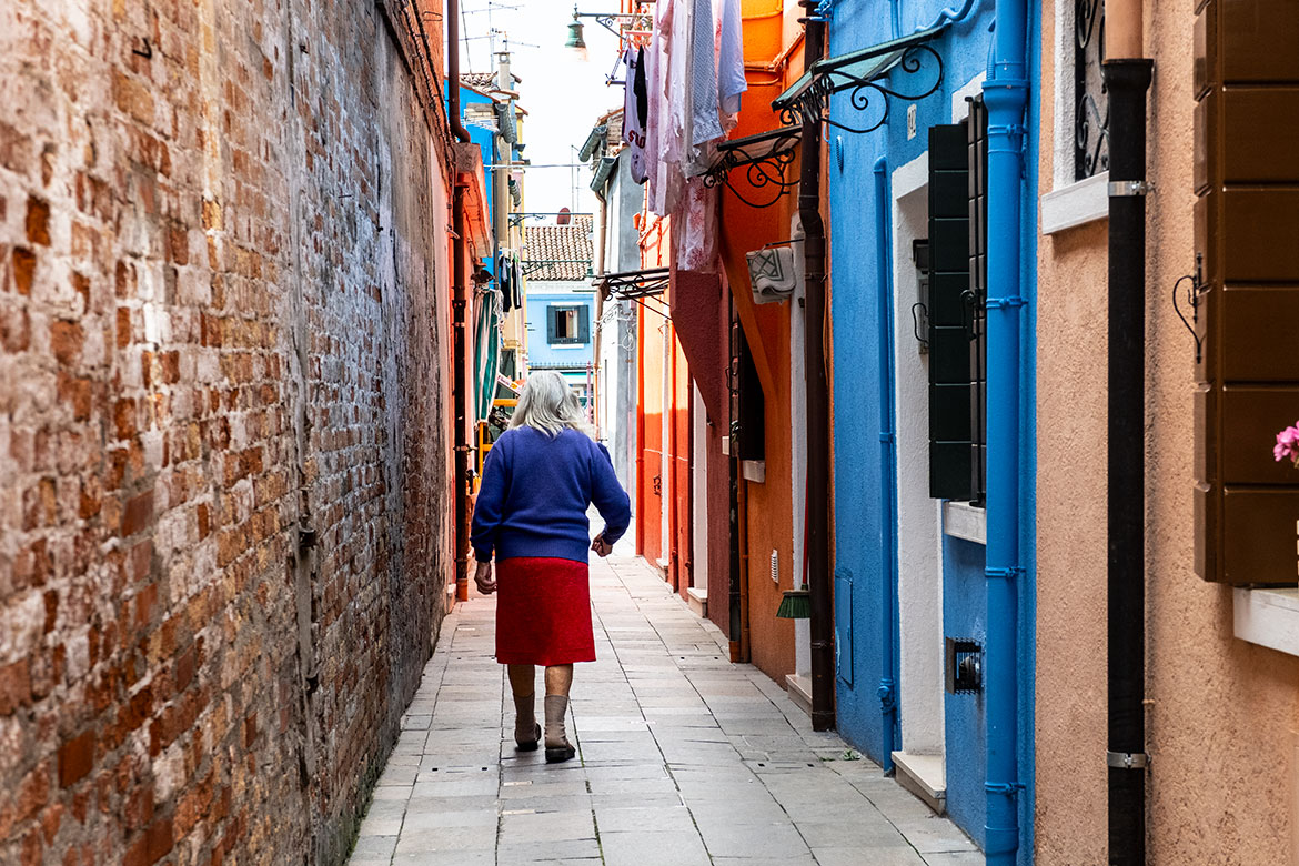 Woman In Burano, Italy